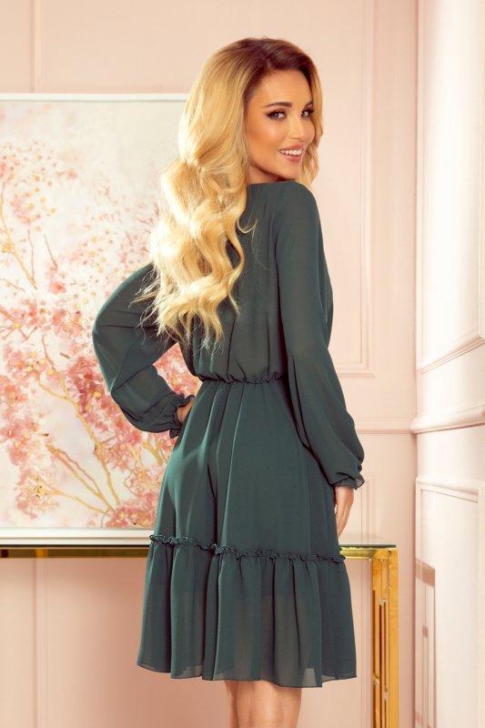 TRACY Szyfonowa sukienka z guzikami - ZIELEŃ BUTELKOWA - 4