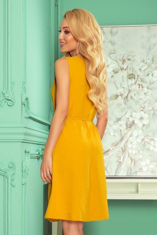VICTORIA trapezowa sukienka - MIODOWA