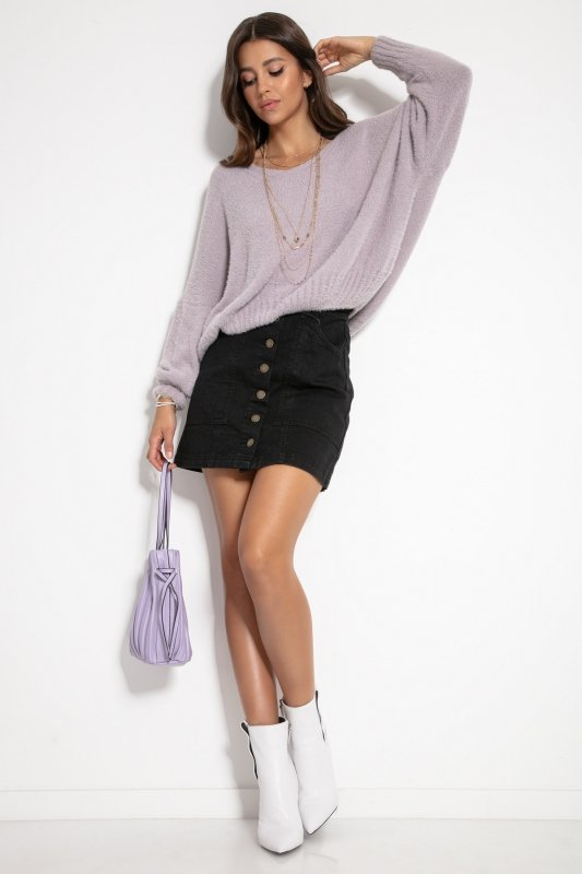 Luźny sweter z dekoltem F1066- fiolet -6