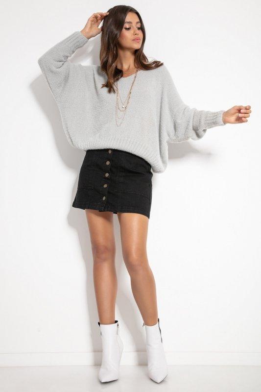 Luźny sweter z dekoltem F1066-szary -2