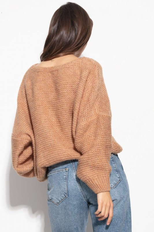 Luźny sweter o oversizowym kroju - F1102-ecru-2