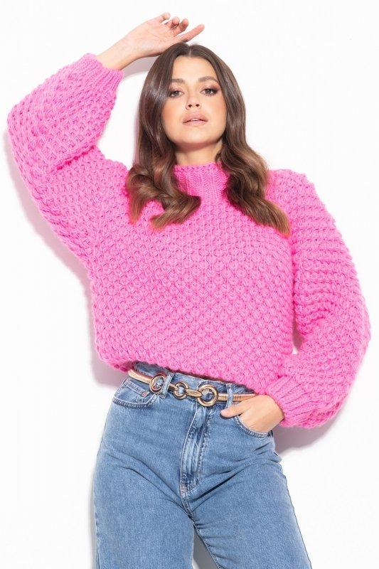 Sweter Chunky Knit F1135 - Różowy - StreetStyle.net.pl - 1
