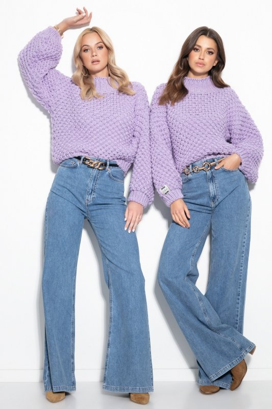 Sweter Chunky Knit F1135 - Fiolet - StreetStyle.net.pl - 1
