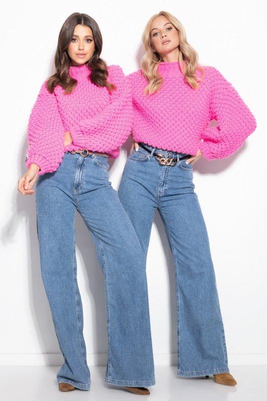 Sweter Chunky Knit F1135 - Różowy - StreetStyle.net.pl - 3
