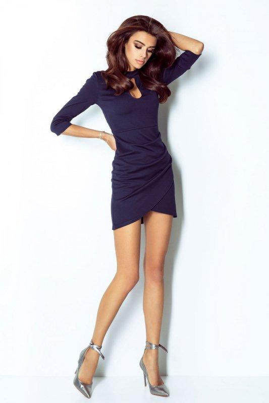 Drapowana sukienka Simona - Granat - Ivon