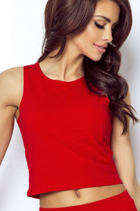 Koszulka typu crop top - Czerwona - Ivon