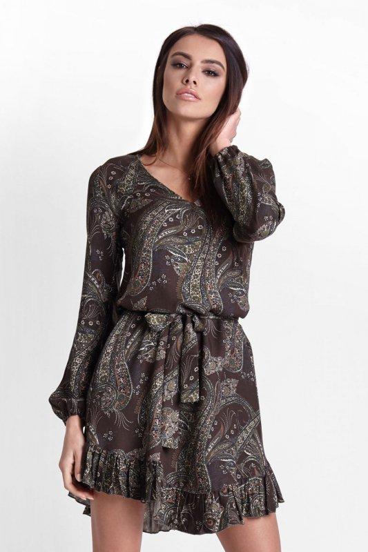 Sukienka Masha w stylu boho -Khaki wzór- Ivon