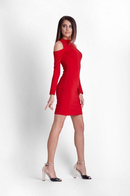 Sukienka z odkrytymi ramionami Lara - Czerwona - Ivon