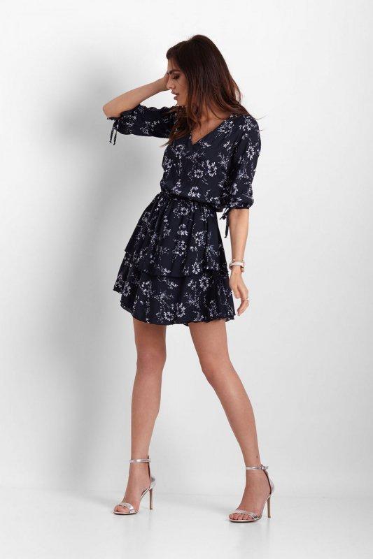 Sukienka w kwiaty Sara - Granat - StreetStyle 543