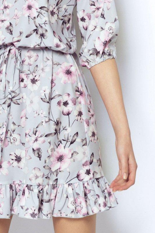 Sukienka w wiosenne kwiaty Morella - Szara - StreetStyle 623