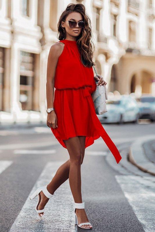 Zwiewna szyfonowa sukienka Livia - Czerwona  - StreetStyle 662