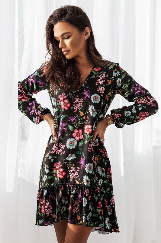 Sukienka Salma - kwiaty na czarnym tle - 3