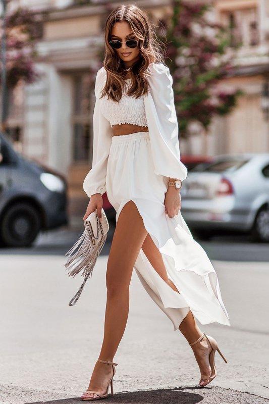 Komplet Tiffi - top z długą spódnicą - cream_1