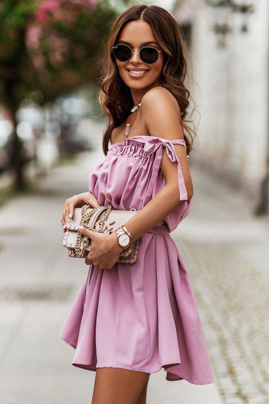 Sukienka ANDI z wiązaniami na ramionach - Róż_2