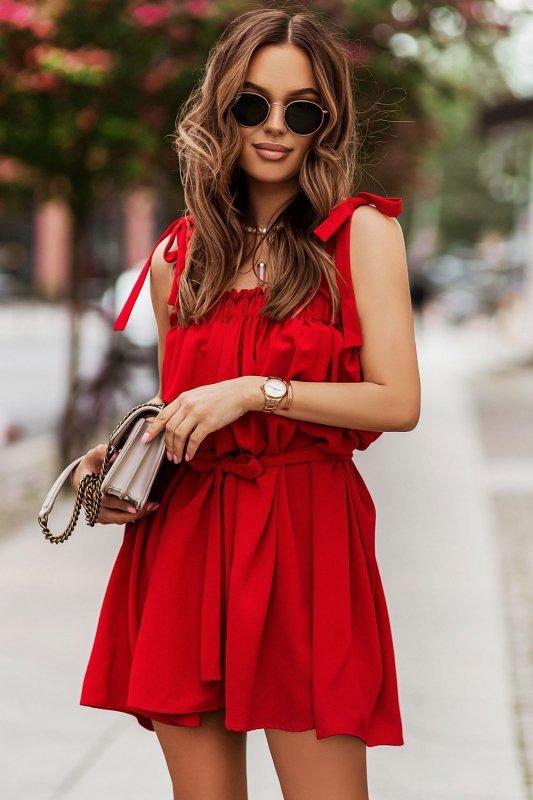 Sukienka ANDI z wiązaniami na ramionach - Czerwona_4