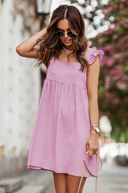 NOEL sukienka mini o lekko oversizowym kroju - róż_1