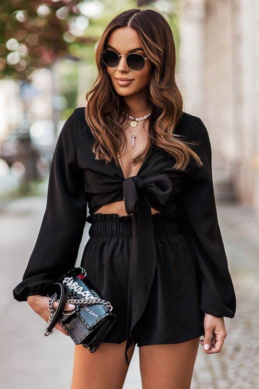 Komplet Rivi - wiązana bluzka z krótkimi spodenkami - czarny_1