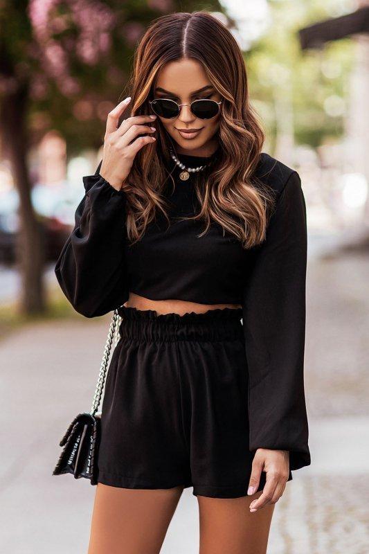 Komplet Rivi - wiązana bluzka z krótkimi spodenkami - czarny_4