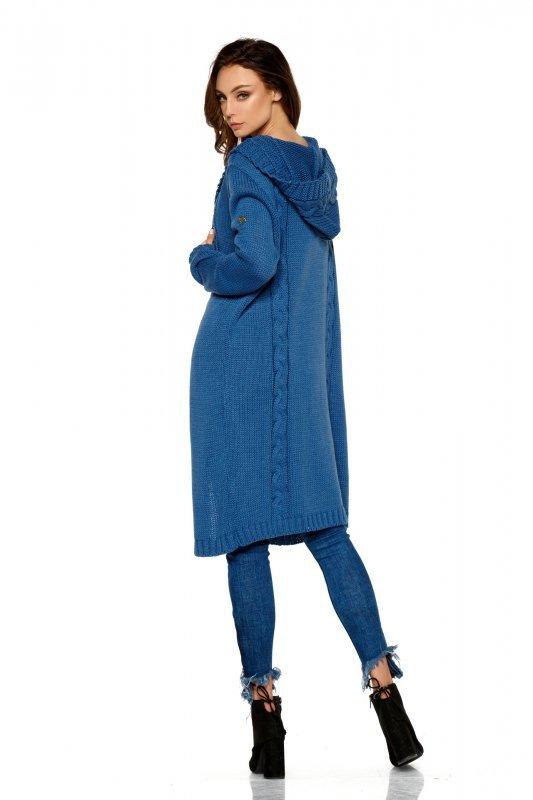 Modny kardigan z kapturem - StreetStyle LS213 - jeans - 4