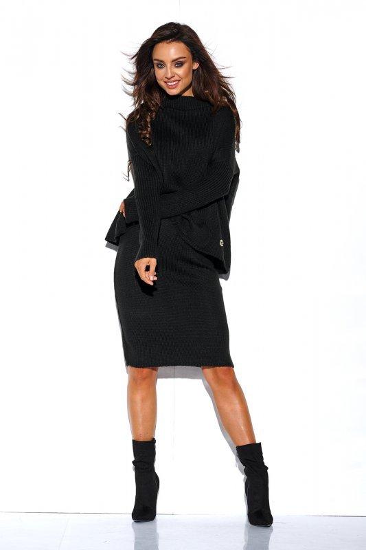 Komplet sweter półgolf i spódnica - StreetStyle LS260 - czarna-3