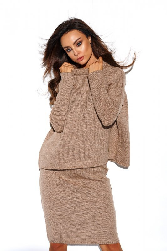 Komplet sweter półgolf i spódnica - StreetStyle LS260 - capucino-2