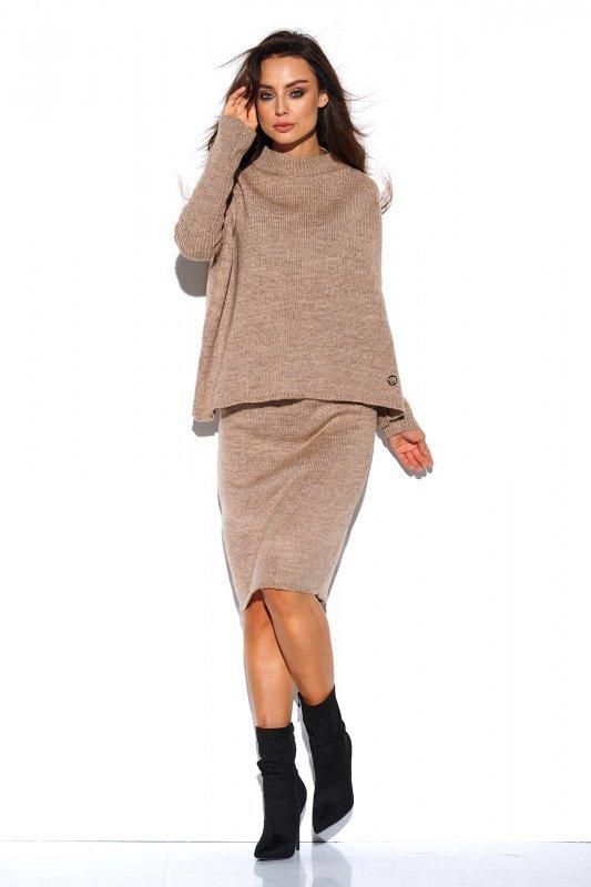 Komplet sweter półgolf i spódnica - StreetStyle LS260 - capucino-3