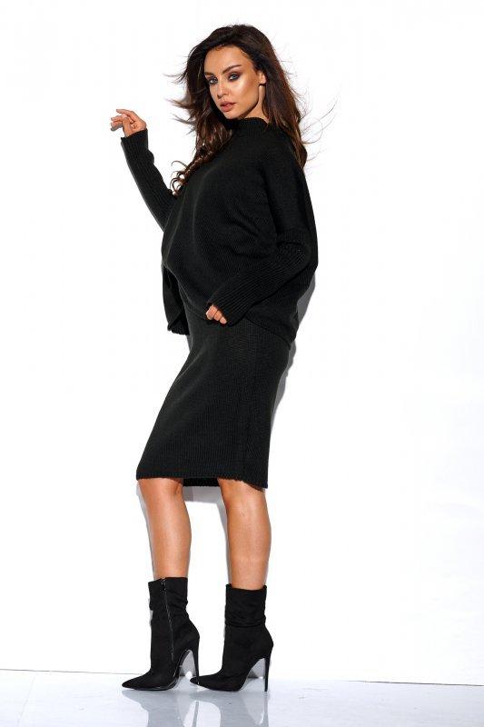 Komplet sweter półgolf i spódnica - StreetStyle LS260 - czarna-4