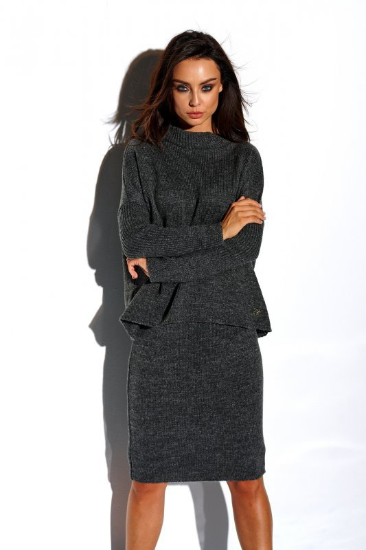 Komplet sweter półgolf i spódnica - StreetStyle LS260 - grafit-1