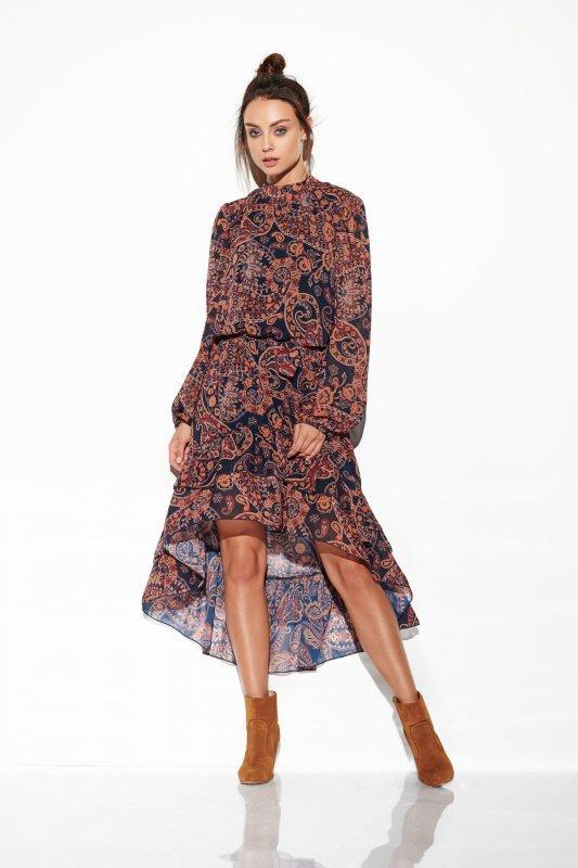 Sukienka z jedwabiem i krótszym przodem -StreetStyle LG504 - druk 2