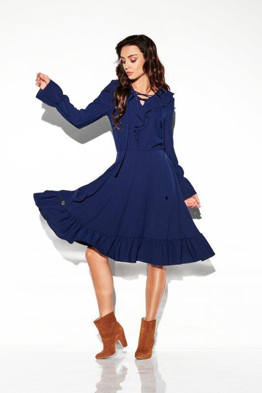 Sukienka ze sznurowanym dekoltem kolor - StreetStyle  L313