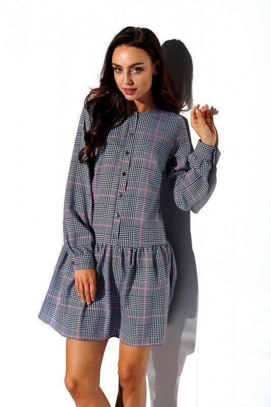 Koszulowa sukienka z falbaną i guziczkami - druk 4