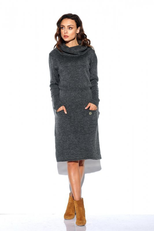 Sweterkowa sukienka z golfem i kieszeniami - StreetStyle LS257- grafit-1