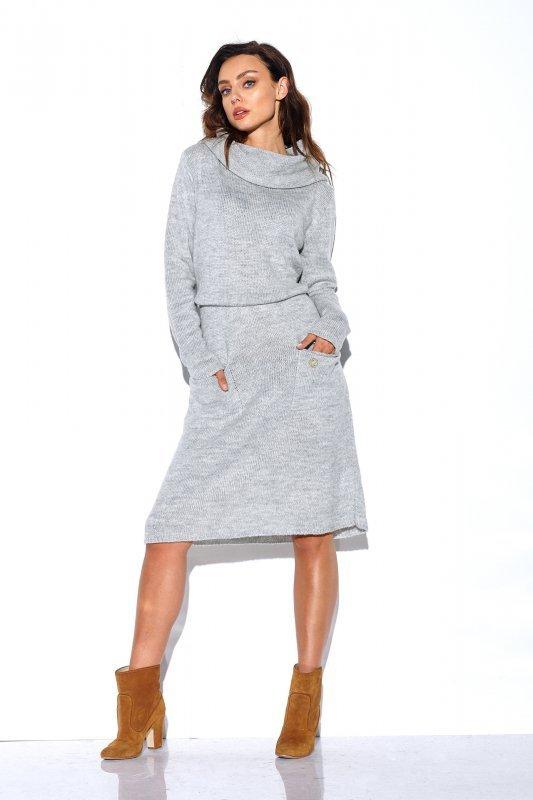 Sweterkowa sukienka z golfem i kieszeniami - StreetStyle LS257- jasnyszary-2