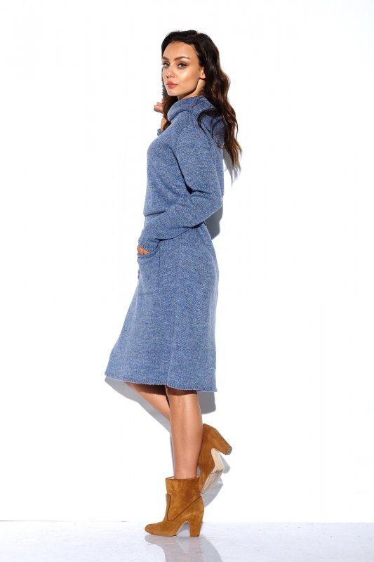 Sweterkowa sukienka z golfem i kieszeniami - StreetStyle LS257- jeans-3
