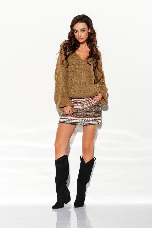 Sweter z dużym dekoltem - StreetStyle LSG111- capucino- 1