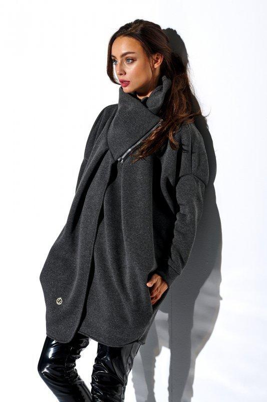 Bluza o oversizowym kroju z zamkiem - StreetStyle LN100 - grafit - 4