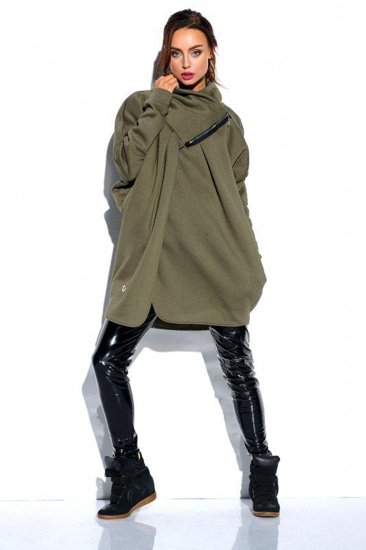 Bluza o oversizowym kroju z zamkiem - StreetStyle LN100 - khaki - 4