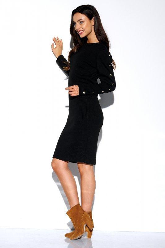 Sukienka swetrowa z guzikami na rękawach - StreetStyle LS270- czarna - 4