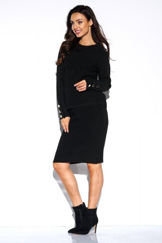 Elegancki komplet sweter i spódnica - StreetStyle LSG118 -czarny - 4