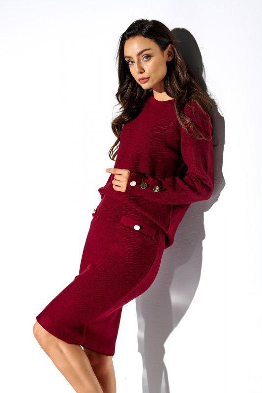 Elegancki komplet sweter i spódnica - StreetStyle LSG118 - bordo - 1