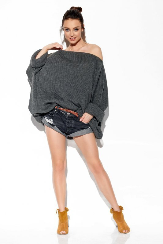 Modny oversizowy sweter odsłaniający ramię -StreetStyle LS277-grafit-1