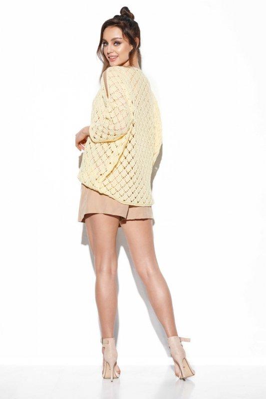 Ażurowy sweter z odkrytymi ramionami -StreetStyle -LS286 - cytryna
