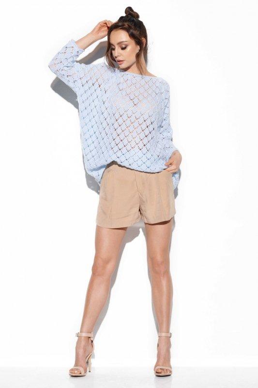 Ażurowy sweter z odkrytymi ramionami -StreetStyle -LS286 - błękitny
