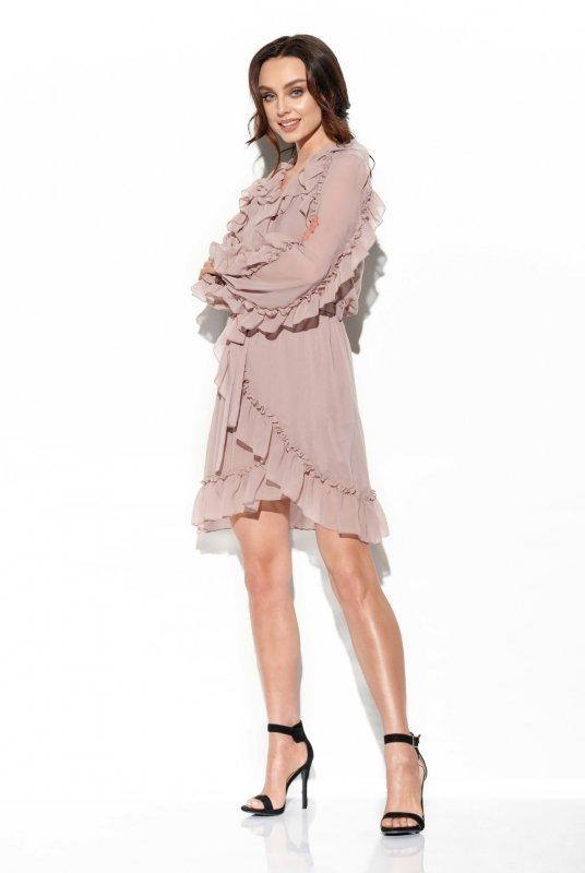 Szyfonowa sukienka z jedwabiem i falbankami Natalia - StreetStyle  L326