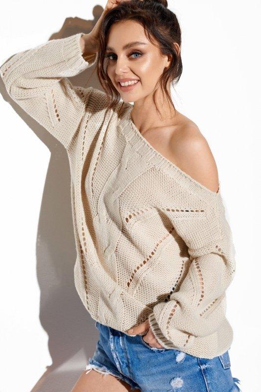 Ażurowy sweter z warkoczem - SteetStyle LS287