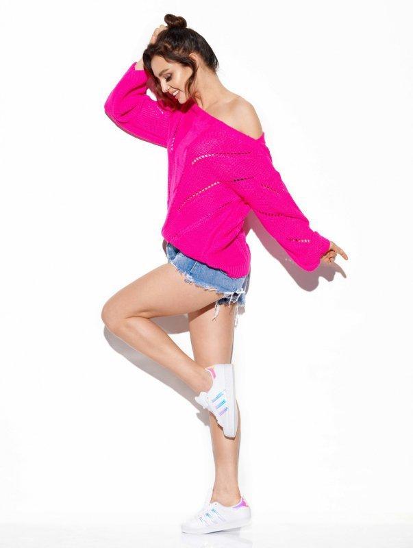 Ażurowy sweter z warkoczem - SteetStyle LS287- ostry róż-2