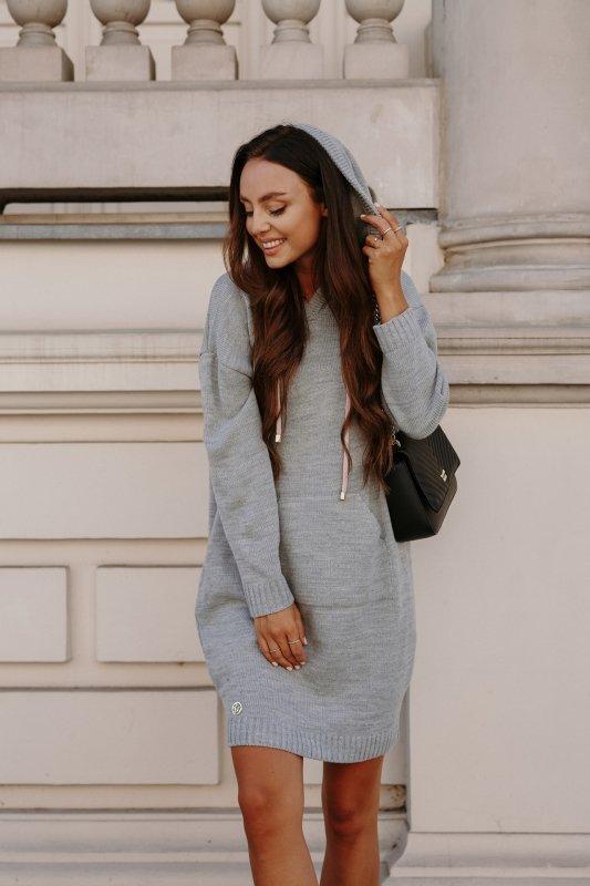 Swetrowa sukienka sportowa z kieszenią -  LSG132 - jasnoszary-7