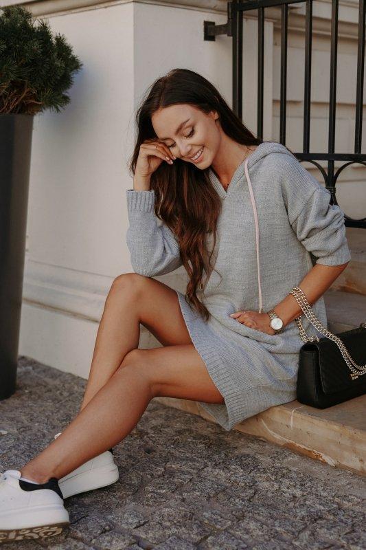 Swetrowa sukienka sportowa z kieszenią -  LSG132 - jasnoszary-2