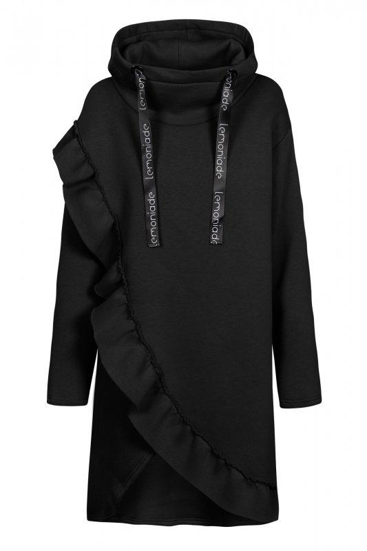 Bawełniana sukienka/bluza z falbaną LN119 - Czarna - 2