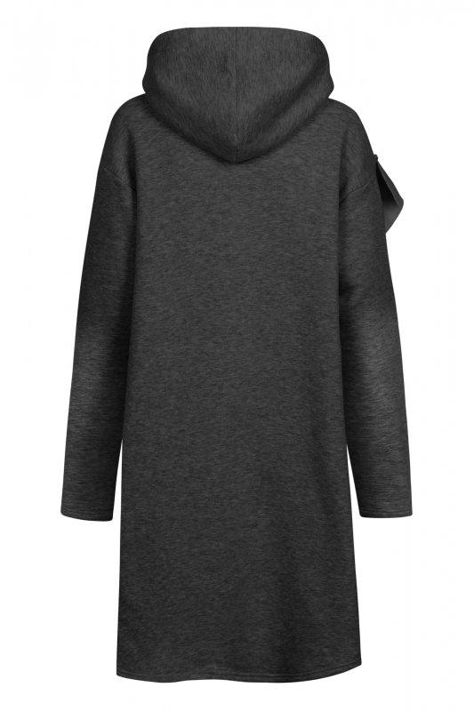Bawełniana sukienka/bluza z falbaną LN119 - Grafit - 6